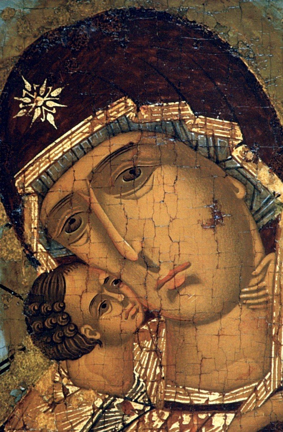 Владимирская икона Божией Матери. Москва, 1560 - 1570-е годы. Фрагмент.