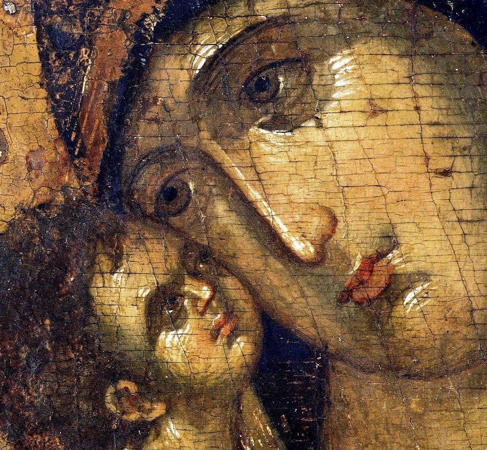 Владимирская икона Божией Матери. Москва, конец XIV - начало XV века. Фрагмент.