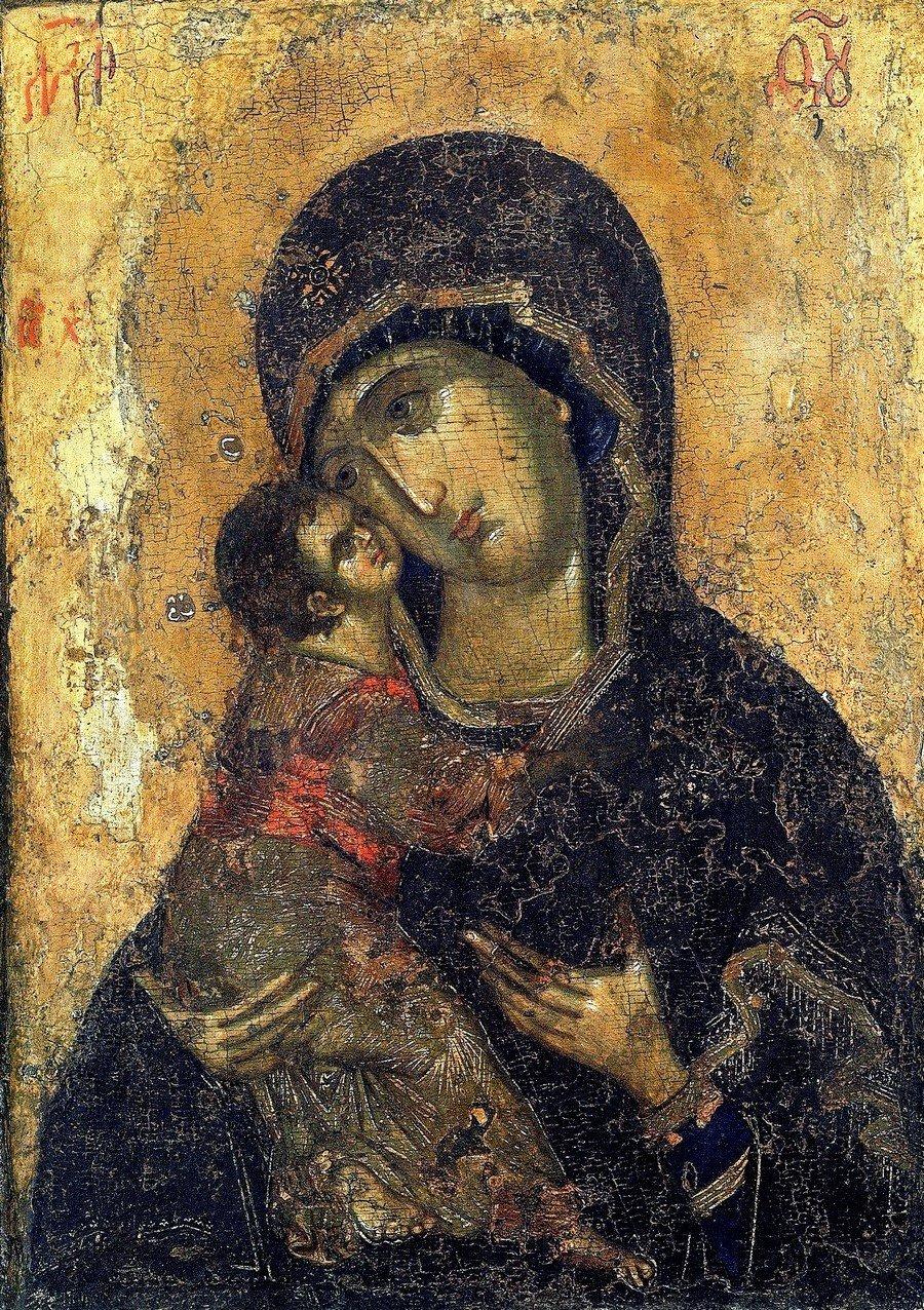 Владимирская икона Божией Матери. Москва, конец XIV - начало XV века.