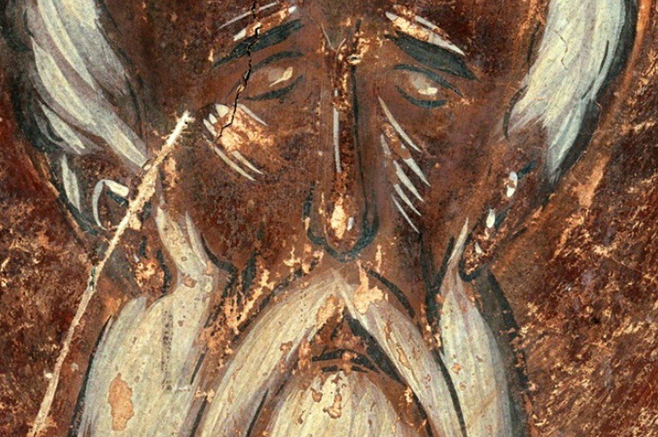 Святой Преподобный Симеон Столпник Дивногорец. Фреска Феофана Грека в церкви Спаса Преображения на Ильине улице в Великом Новгороде. 1378 год.