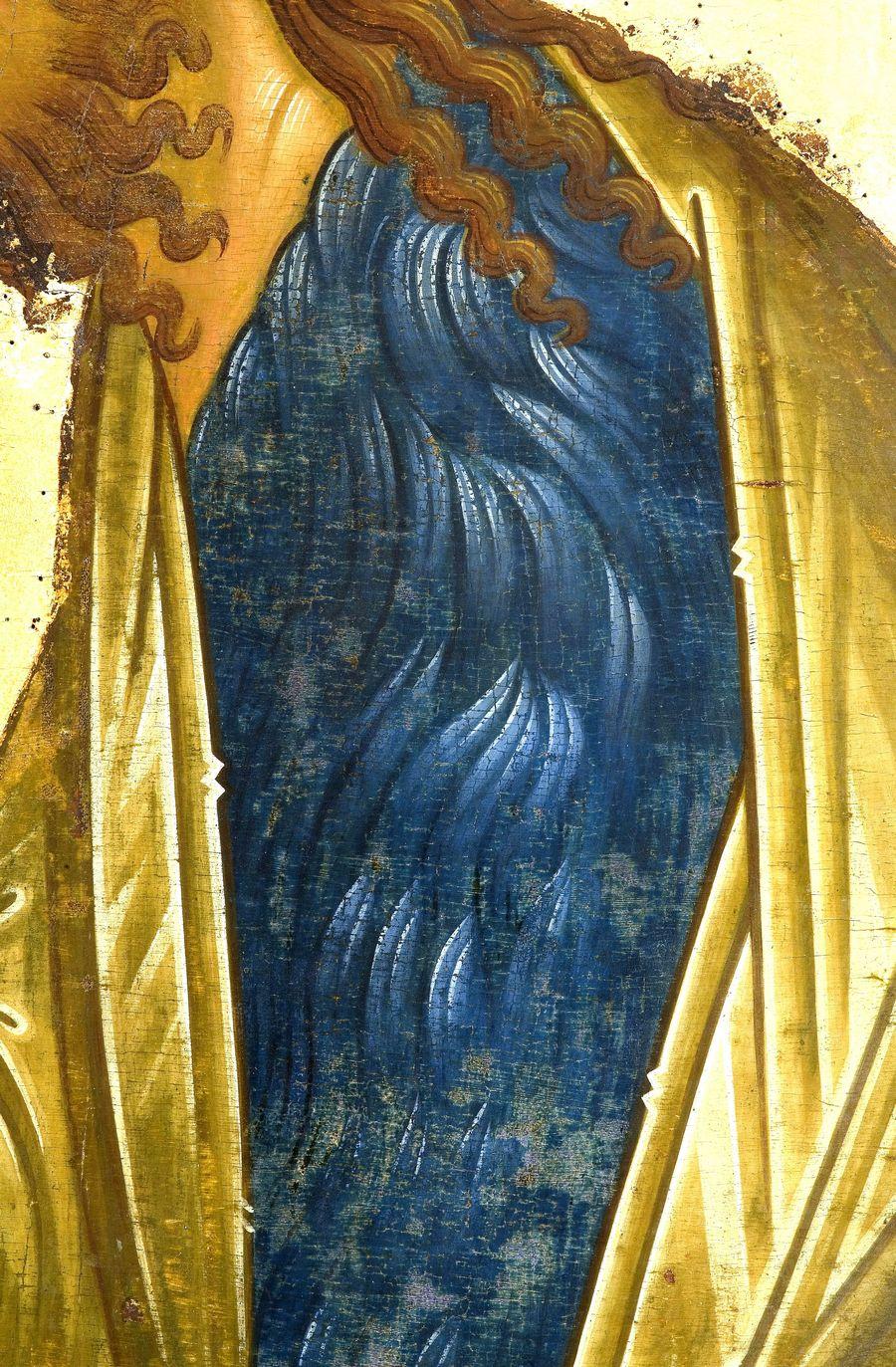 Святой Пророк, Предтеча и Креститель Господень Иоанн. Икона из деисусного ряда иконостаса Успенского собора Кирилло-Белозерского монастыря. 1497 год. Кирилло-Белозерский музей-заповедник. Фрагмент.
