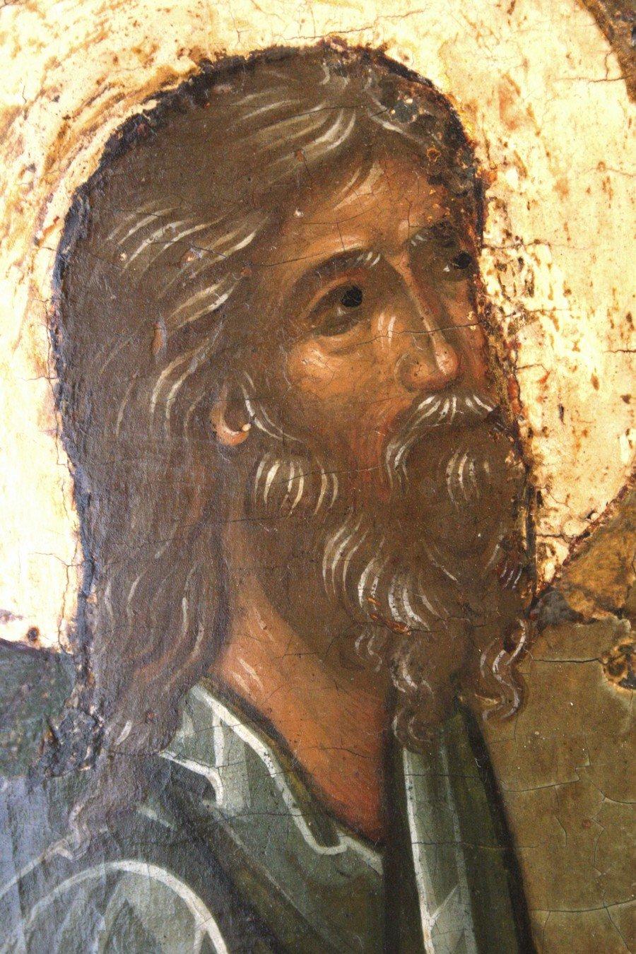 Пресвятая Троица. Икона. Ярославль, середина XVI века. Фрагмент. Праотец Авраам.