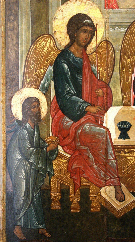 Пресвятая Троица. Икона. Ярославль, середина XVI века. Фрагмент.