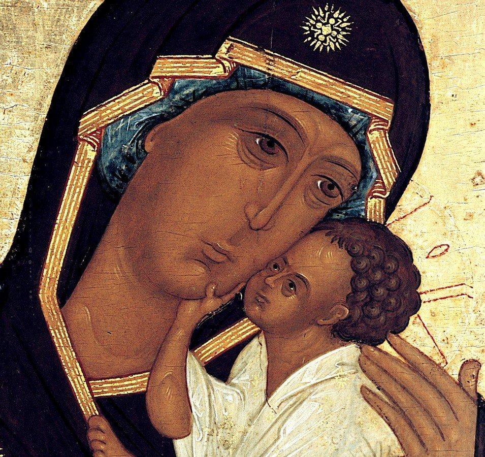 Ярославская икона Божией Матери. XVI век. Фрагмент.