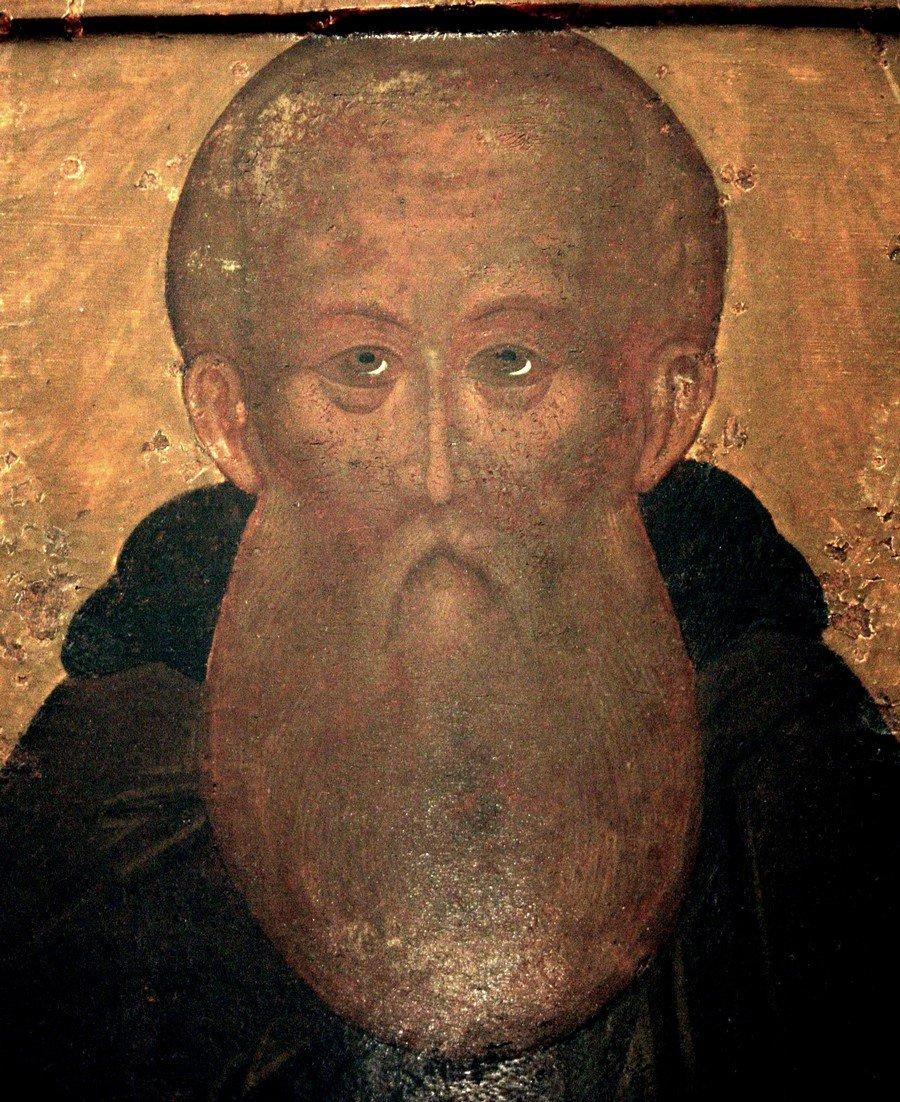 Святой Преподобный Кирилл, игумен Белозерский, Чудотворец. Икона из Кирилло-Белозерского монастыря. Фрагмент.