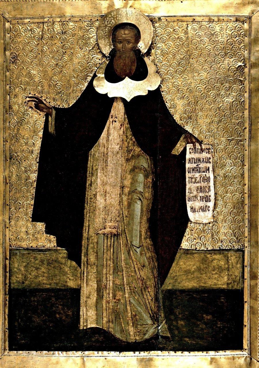 Святой Преподобный Кирилл, игумен Белозерский, Чудотворец. Русская икона XVI века.
