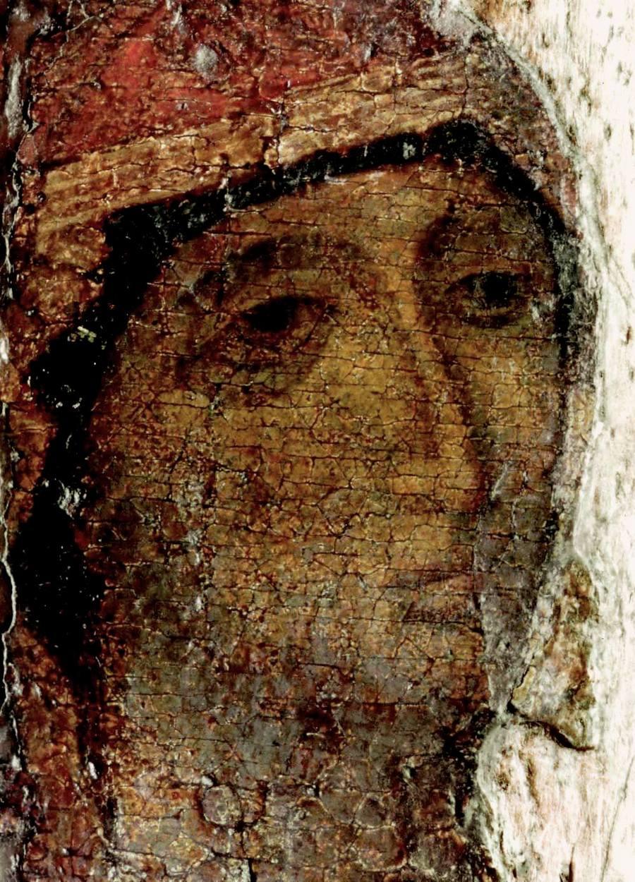 Чудотворная Боголюбская икона Божией Матери. 1158 - 1174 годы. Фрагмент.