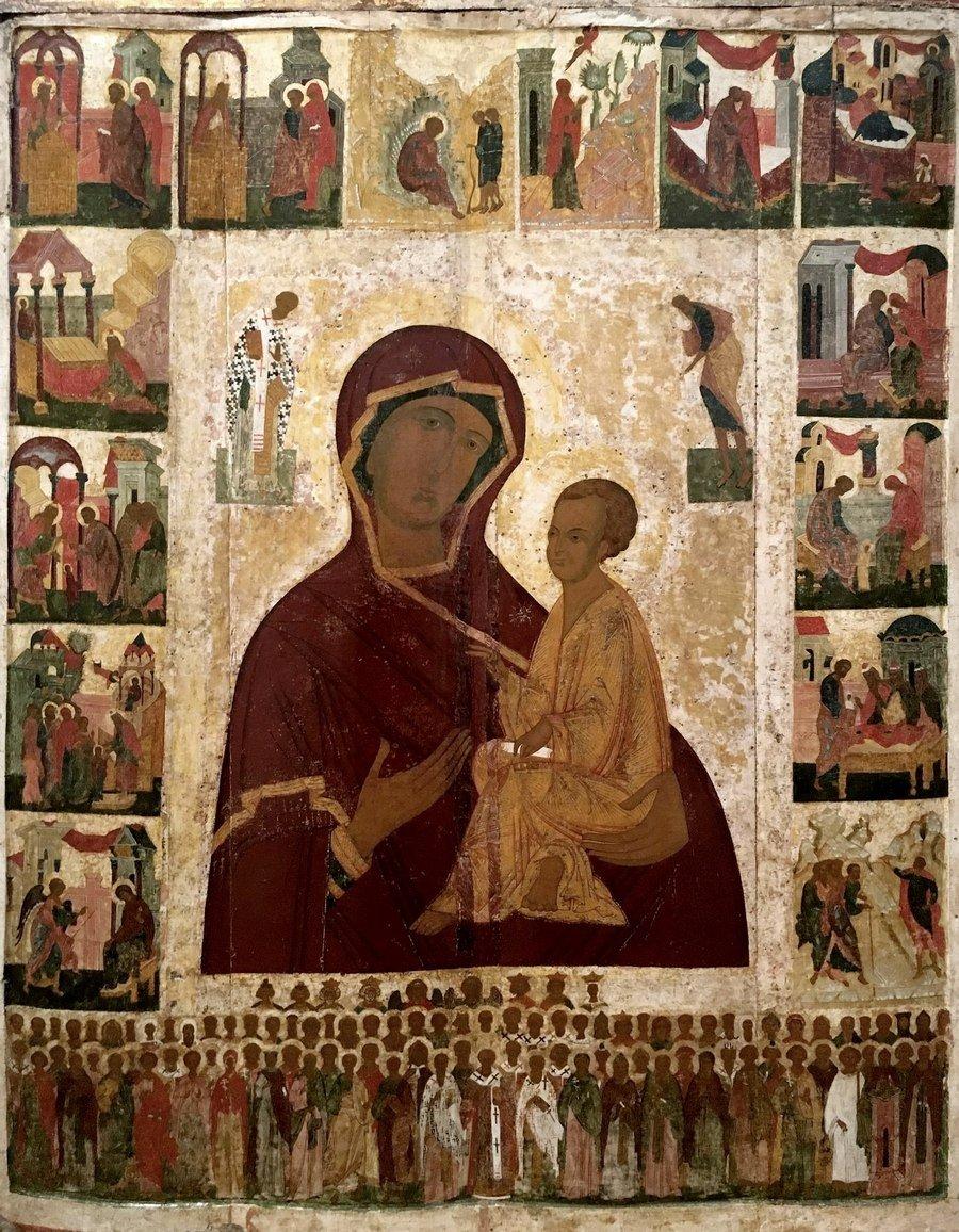Тихвинская икона Божией Матери. Новгород, XVI век.