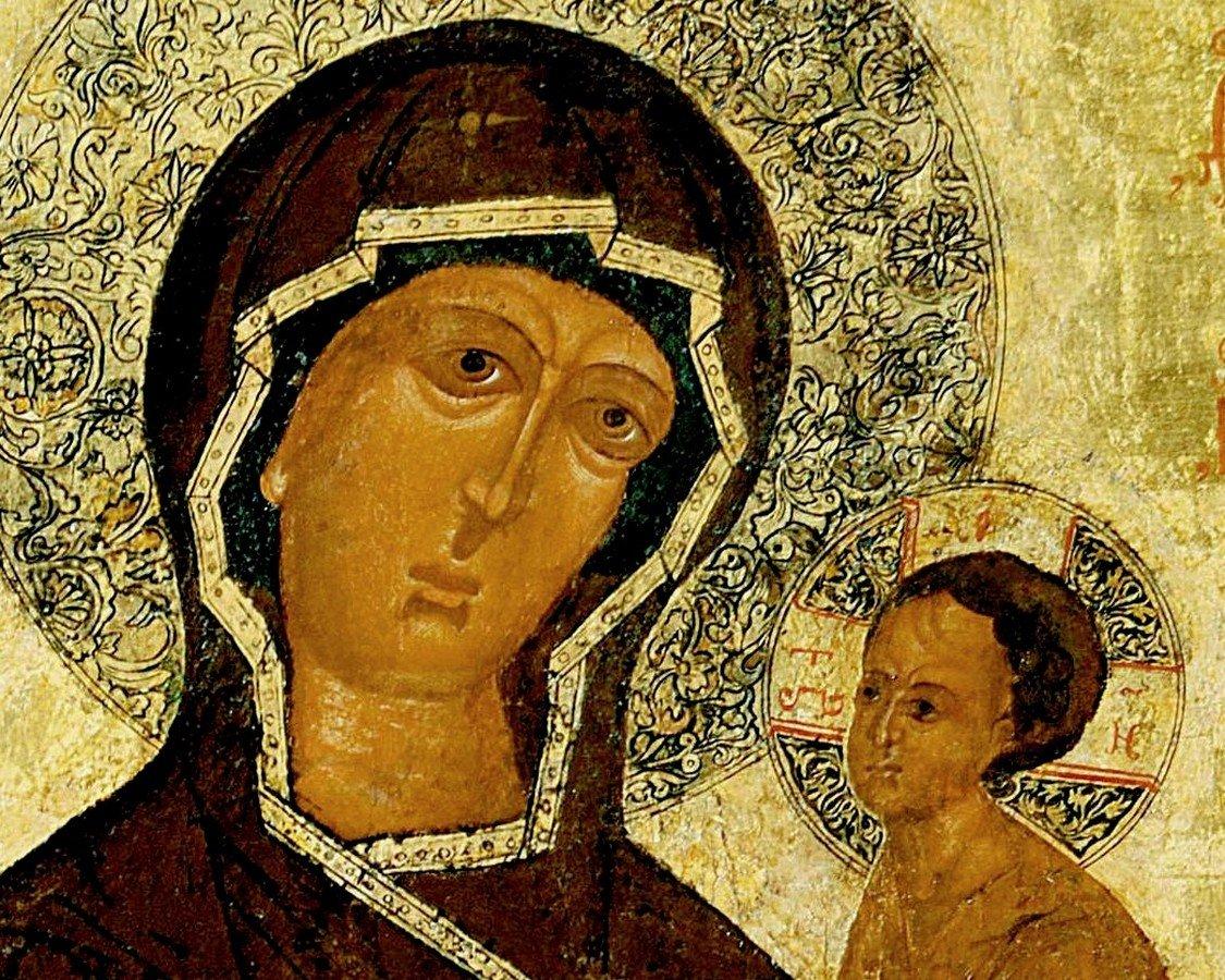 Тихвинская икона Божией Матери. Каргополь, конец XVI - начало XVII века. Фрагмент.