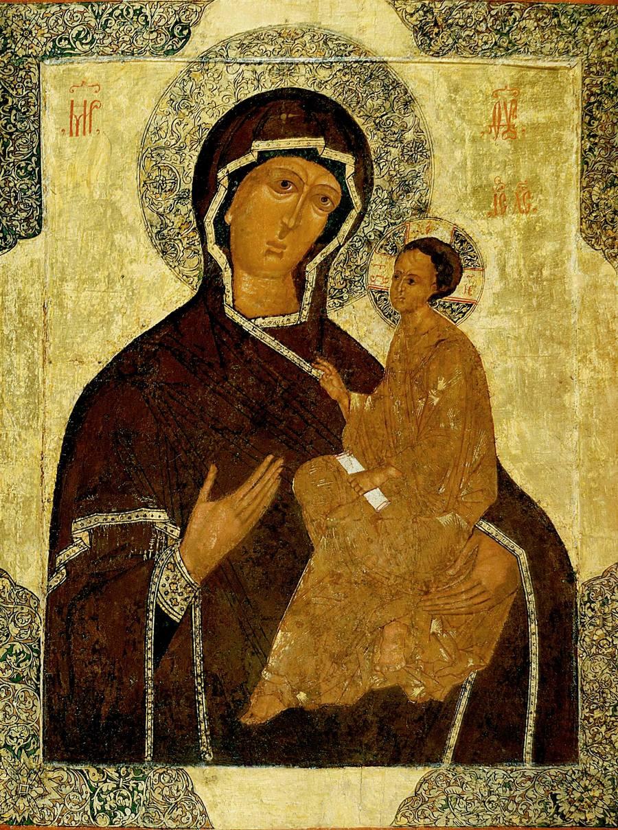 Тихвинская икона Божией Матери. Каргополь, конец XVI - начало XVII века.