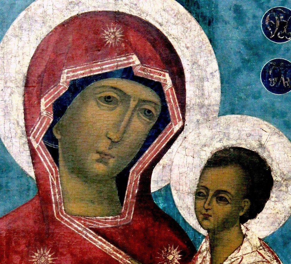 Тихвинская икона Божией Матери. Великий Устюг, XVIII век. Фрагмент.