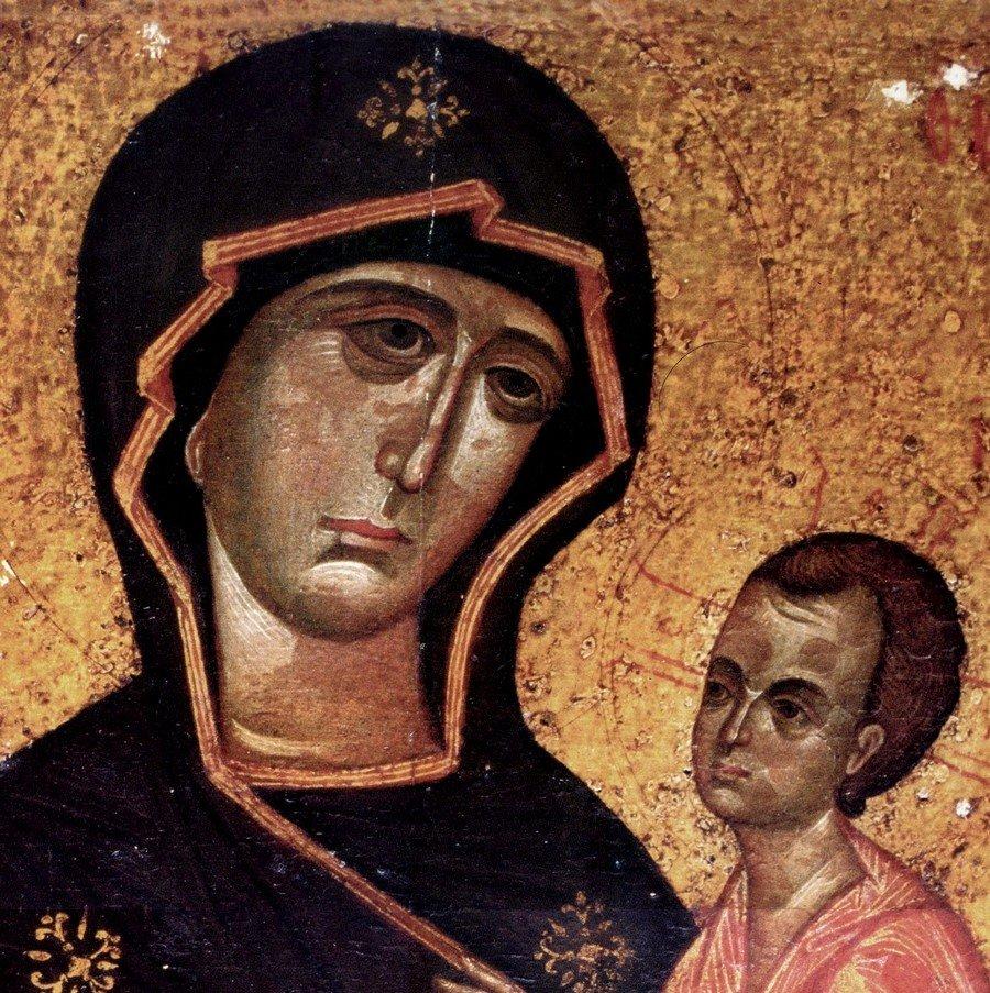 Чудотворная Тихвинская икона Божией Матери. Фрагмент.