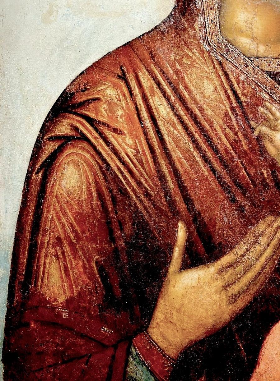 """Икона Божией Матери """"Одигитрия"""". 1675 - 1678 годы. Иконописцы Симон Ушаков и его ученик (Георгий Зиновьев ?). Фрагмент."""