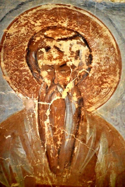 Святой Преподобный Никифор Катавадский. Фреска Феофана Грека в церкви Спаса Преображения на Ильине улице в Новгороде. 1378 год.
