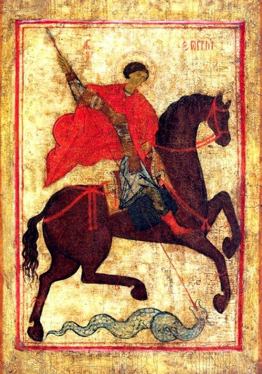 Чудо Святого Георгия о змие. Икона. Ростовские земли, последняя четверть - конец XIV века.