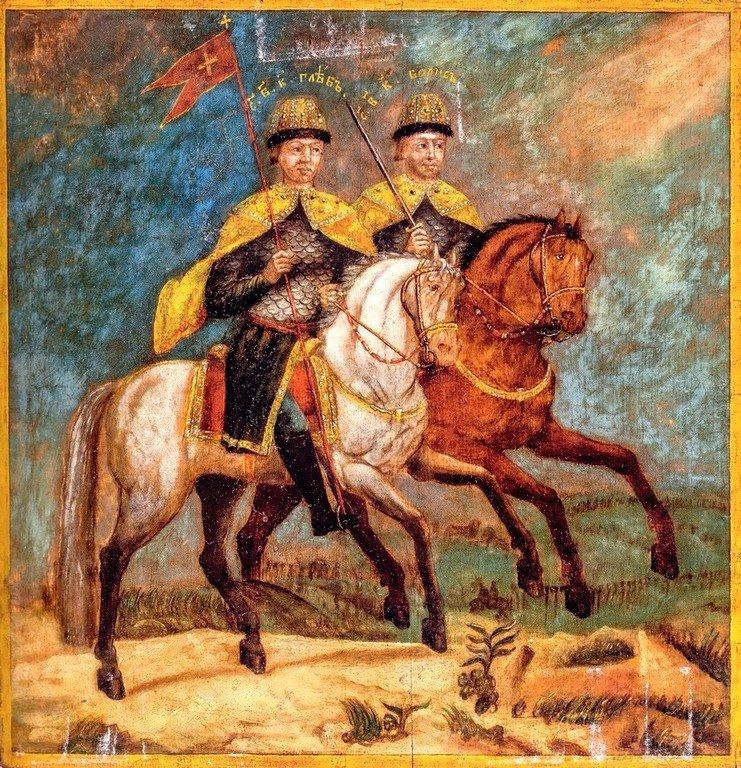 Святые Благоверные Князья Борис и Глеб. Икона. Россия, XIX век.
