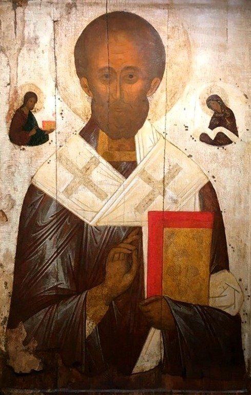 Святитель Николай, Архиепископ Мир Ликийских, Чудотворец. Икона. Тверь, XV век.