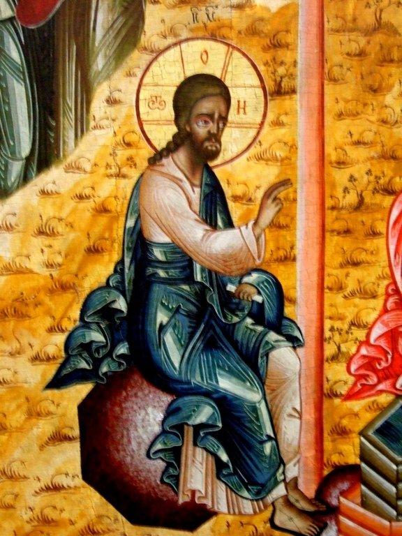 Беседа Христа с самарянкой. Икона. Русский Север. Фрагмент.