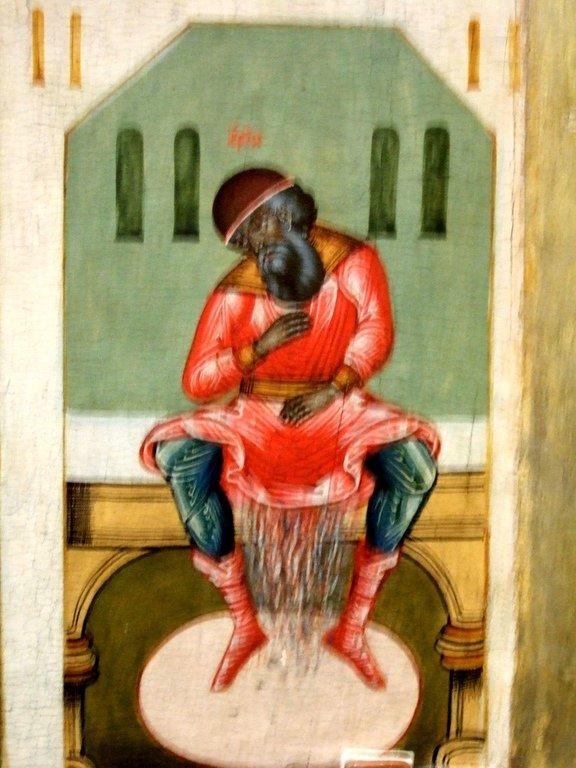 Первый Вселенский Собор. Икона. Русский Север. Фрагмент. Смерть еретика Ария в туалете.