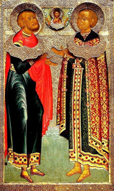 Святой Великомученик Иоанн Новый, Сочавский, и царевич Иоанн Михайлович, крещённый с его именем. Икона. Москва, 1639 - 1640 годы.