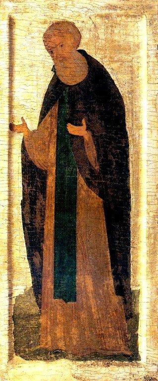 Святой Преподобный Кирилл, игумен Белозерский, Чудотворец. Русская икона конца XV века.