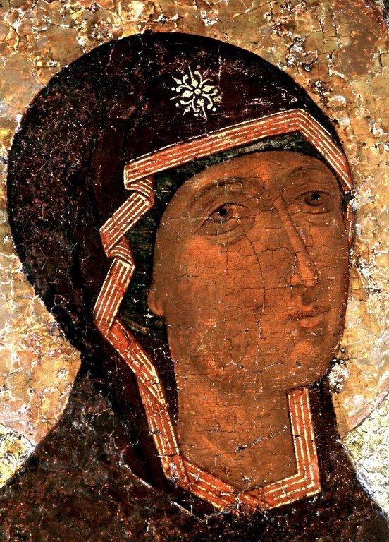 Боголюбская икона Божией Матери. XVI век. Лик Пресвятой Богородицы.