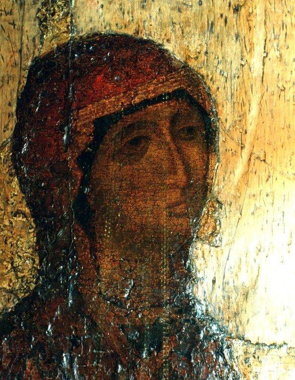 Чудотворная Боголюбская икона Божией Матери. XII век. Лик Пресвятой Богородицы.