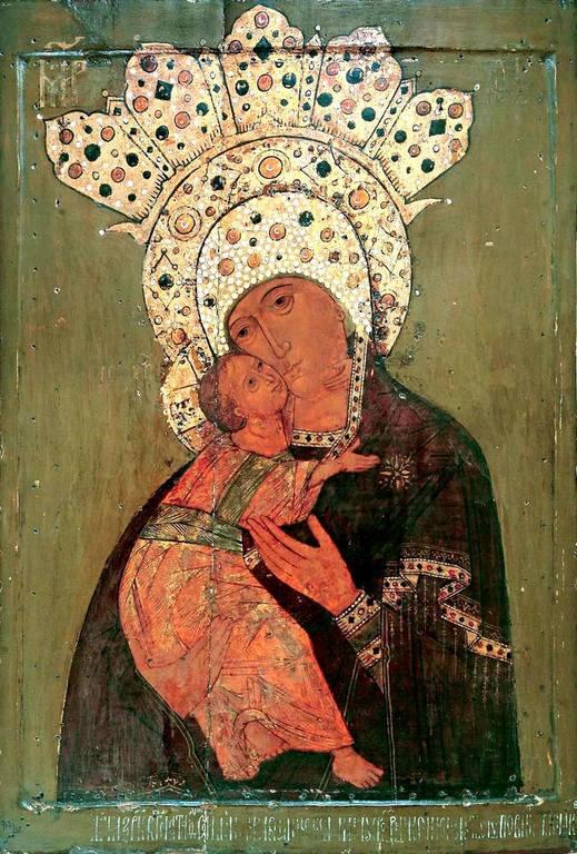 Владимирская икона Божией Матери. Муром, 1612 год. Иконописец Рославов.
