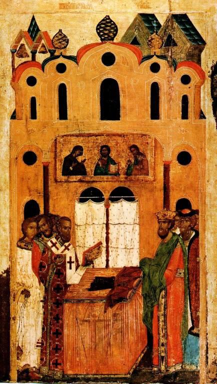 Положение честной Ризы Пресвятой Богородицы во Влахерне. Икона. Новгород, XVII век.