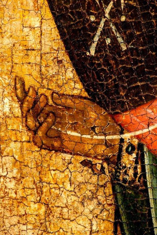 Архангел Гавриил. Икона. Новгород, XV век. Фрагмент.