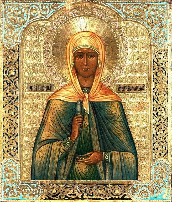 Святая Мироносица Равноапостольная Мария Магдалина. Икона. Россия, около 1890 года.