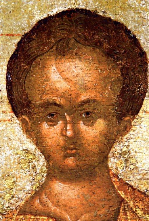 """Смоленская икона Божией Матери, именуемая """"Одигитрия"""". Список XV века. Лик Богомладенца."""