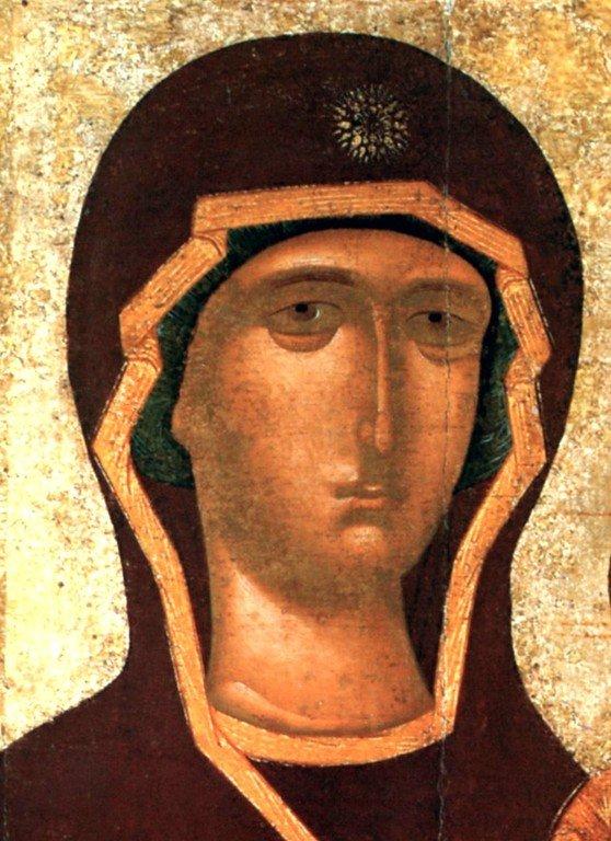 """Смоленская икона Божией Матери, именуемая """"Одигитрия"""". Список XV века. Лик Пресвятой Богородицы."""