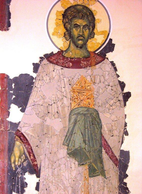 Святой Мученик Архидиакон Евпл. Фреска церкви Спаса на Ковалеве в Новгороде. 1380 год.