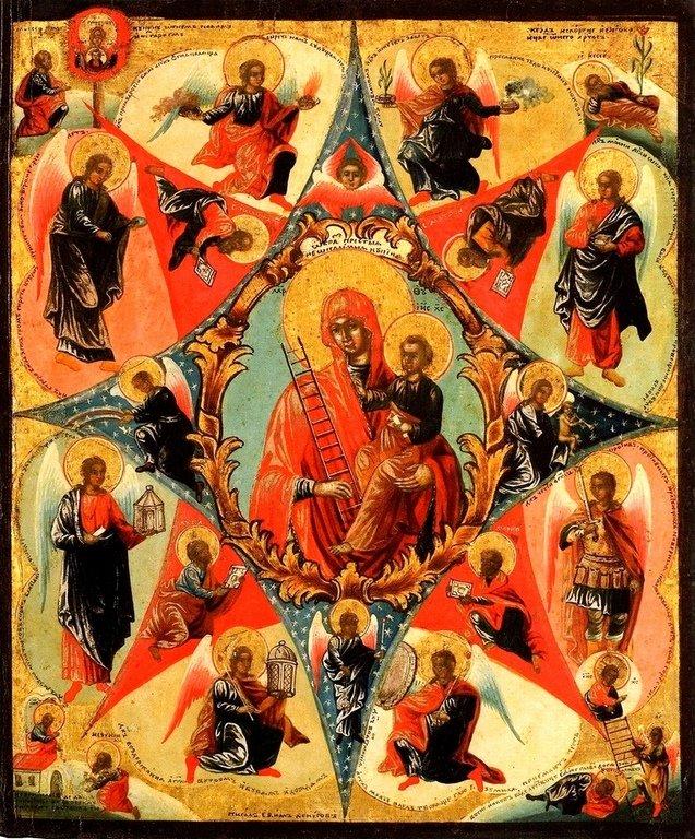"""Икона Божией Матери """"Неопалимая Купина"""". Вязники, конец XVIII века. Иконописец Ефим Денисов."""