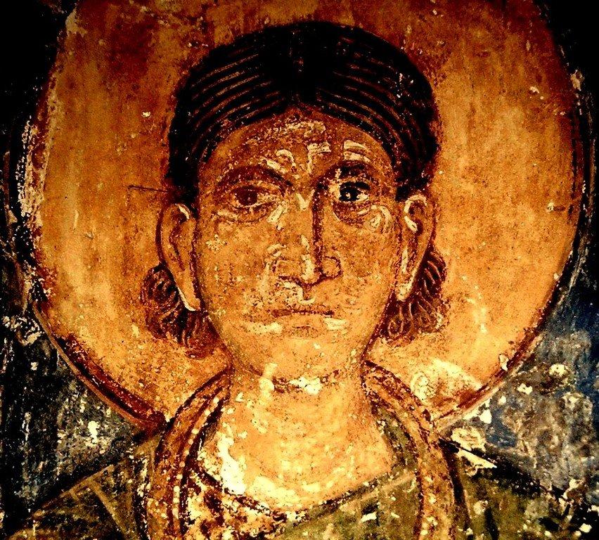 Святой Мученик Ромил Римский. Фреска Спасо-Преображенского собора Мирожского монастыря. XII век.