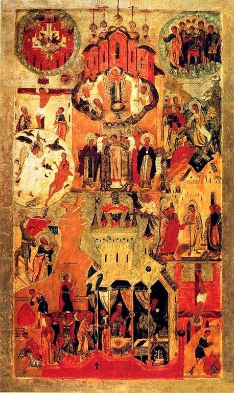 Обновление храма Воскресения Христова в Иерусалиме. Икона строгановской школы конца XVI - начала XVII веков.