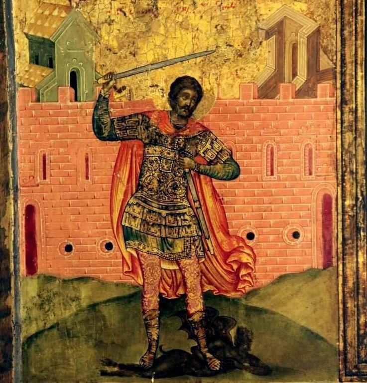 Святой Великомученик Никита Готфский, с житием. Русская икона. Клеймо: Святой Никита побивает беса.
