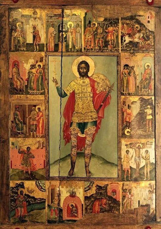 Святой Великомученик Никита Готфский, с житием. Русская икона.