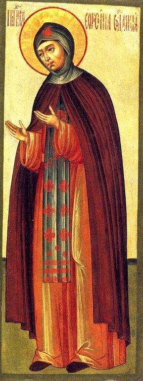 Святая Преподобная Евфросиния Суздальская. Икона. Мастерские Оружейной палаты, 1680-е годы.