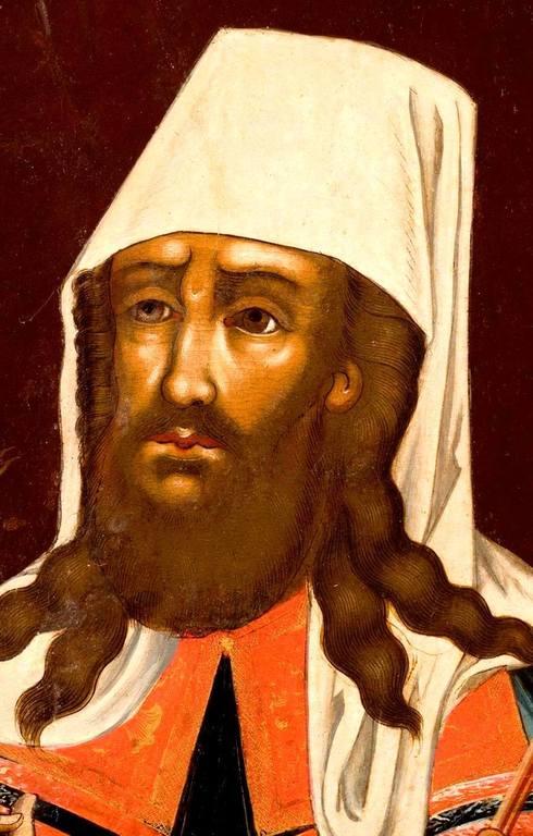Святитель Димитрий, Митрополит Ростовский. Икона 1759 года. Лик.
