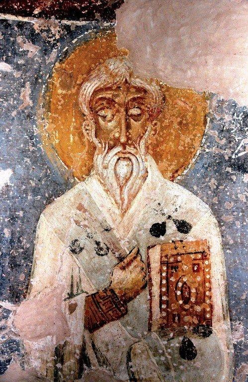 Священномученик Фока, Епископ Синопийский. Фреска церкви Спаса на Нередице близ Новгорода. 1199 год.