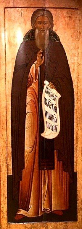 Святой Преподобный Сергий, Игумен Радонежский, Чудотворец. Русская икона XVII века.