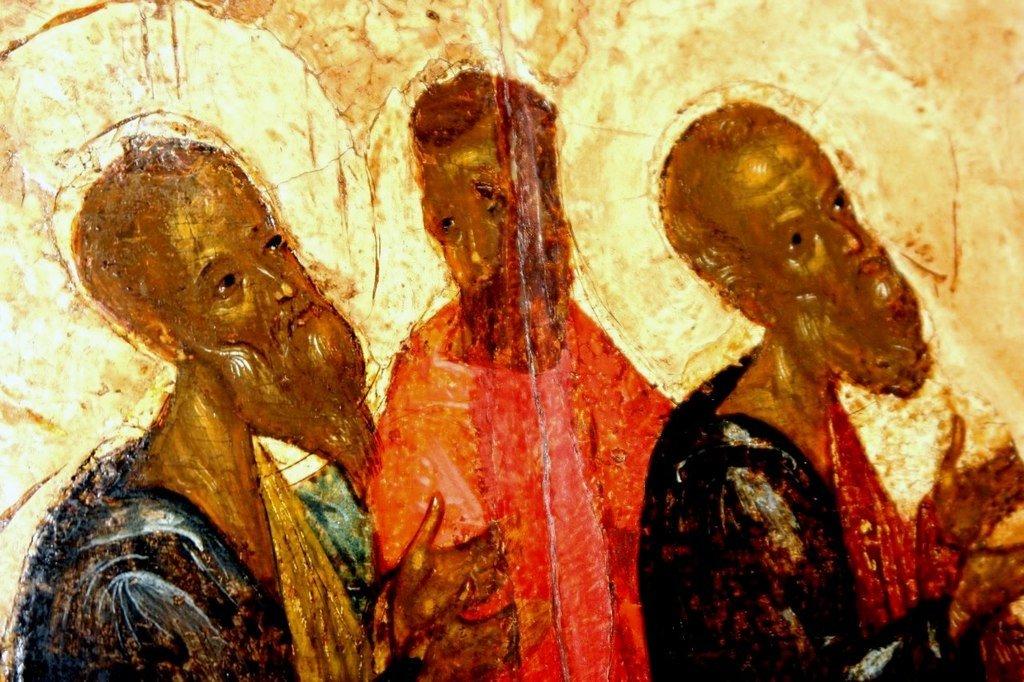 Покров Пресвятой Богородицы. Икона. Новгород, 1399 год. Фрагмент. Святые Апостолы.