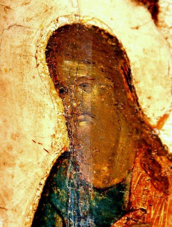 Покров Пресвятой Богородицы. Икона. Новгород, 1399 год. Фрагмент. Святой Иоанн Предтеча.