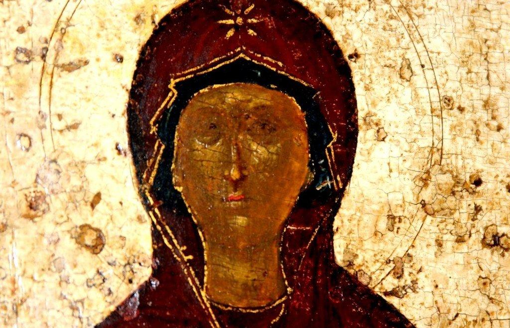 Покров Пресвятой Богородицы. Икона. Новгород, 1399 год. Фрагмент. Лик Пресвятой Богородицы.