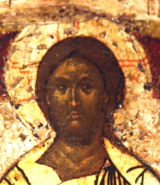 Покров Пресвятой Богородицы. Икона. Новгород, 1399 год. Фрагмент. Лик Спасителя.