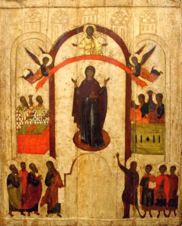 Покров Пресвятой Богородицы. Икона. Новгород, 1399 год.