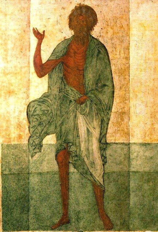 Святой Блаженный Андрей Константинопольский, Христа ради юродивый. Икона. Новгород, XVI век.