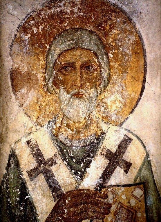 Священномученик Карп, Епископ Фиатирский. Фреска Софийского собора в Новгороде. 1108 год.